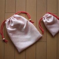 桜色の巾着 大小