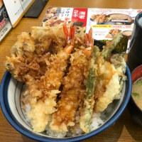 今日のお昼ご飯 アサリごぼう海老天丼