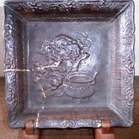 源内焼 その87 褐釉獅子香炉文脚付角鉢