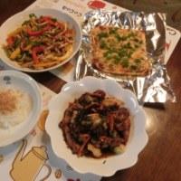 チンジャオロース風&ひじき煮&納豆ピザ風