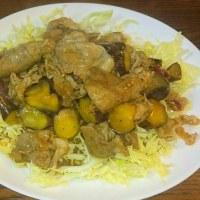 今日の夕食は 豚こま肉とナスの生姜焼き風