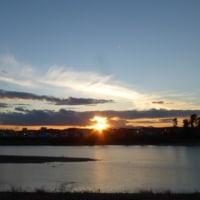 一年で最も透明な夕日? 多摩川冬景色シリーズ