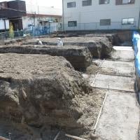 富士市にて重量鉄骨2階建て 店舗併用2世帯住宅 基礎工事中です