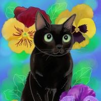 今日のお絵かき 黒猫とパンジー