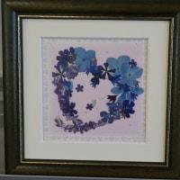 16正方額 青小花のハート