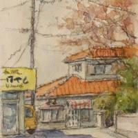 絵「桜咲く路地」(速描)