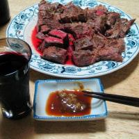 食後のワインとステーキ