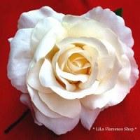 真っ白とは違う落ち着いた白『フラメンコ 大きめ花髪飾り バラ 9010 クリーム/アイボリーホワイト』