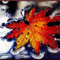 色鉛筆画317 (浮き紅葉)