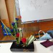華道教室で盛花を生ける
