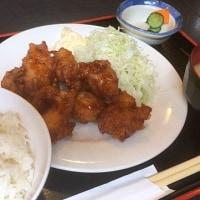唐揚げ定食を頂きました。 at 串特急 神谷町店