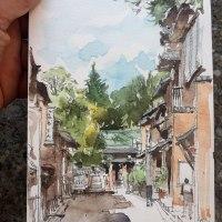 旅のスケッチ、上七軒、京都