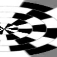 白黒の画像の同心円デスニャ