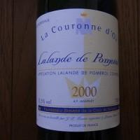 LA COURONNE D'OR 2000  LALANDE DE POMEROL Rouge