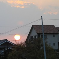 しまぞら 夕空 真っ赤な夕日に~ 2016.12.09