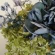紫陽花のドライフラワーと刺しゅうサンプル