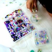 貝殻の宝物作り と  と 算数の重さのパズル