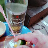 新しいブラジル酒と一人花見