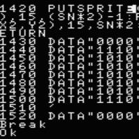 BlueMSXでスプライト スプライトで座標を表示する プログラムのダウンロード