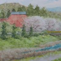 絵「赤い屋根と桜」
