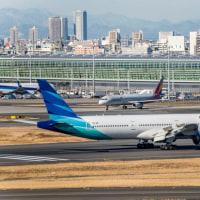 レア!ガルーダ・インドネシア航空の34Rテイクオフ!!! (2月11日 羽田空港)