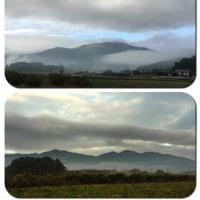 今朝の筑波山(上段)と足尾山、加波山(下段)