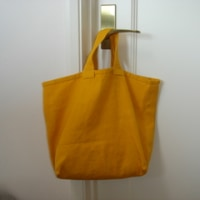 check&stripe 麻帆布のバッグ からし色