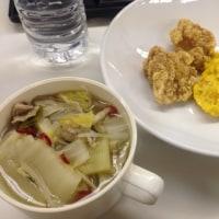 ランチ 野菜スープとかぼちゃと唐揚げと。