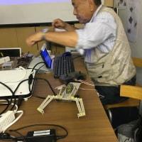 電子工作教材 タミヤ製のリモコンロボットのデモ