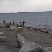 海辺の鮭釣り