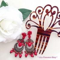 新商品です。アラブ風のデザイン『フラメンコピアス 3111 赤』と『フラメンコピアス 3111 白』