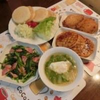 お魚・コロッケバーガー&ベーコンほうれん草&山東菜スープ