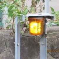蓼川で黄色い回転灯が回り、河川注意の放送が