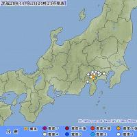 2016年11月12日(土) 21時19分 - 神奈川県西部 M3.2 (最大震度2) 深さ 約20km