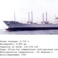 マグロ冷凍運搬船「はつかり」の航跡