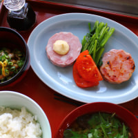 明宝ハム・椎茸と水菜のおつゆ・・・朝餉