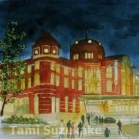 絵画販売・水彩原画「夜の東京駅」「雨の御茶ノ水駅」