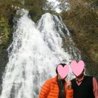 オシンコシンの滝とオロンコ岩と夕陽
