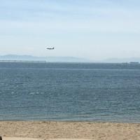 飛行機と海