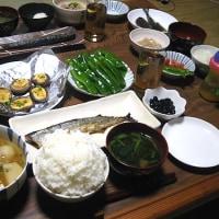 夕飯◆秋刀魚の塩焼き、カブとひき肉、焼きしいたけ