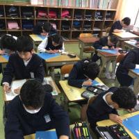 集中して学習する6年生