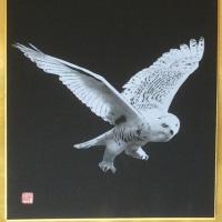 白フクロウ 剪画(切絵) 色紙!!