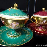 オーストリア製 ヴィエナ オールハンドペイント 天使の蓋付カップ&ソーサー(緑)