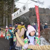 小野神社の御柱の綱縒の奉納・・昼食会