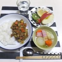 ドライカレーと野菜スープの夜ごはん