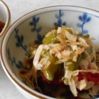 ししとうの甘辛炒め 。小さく切ったししとうの佃煮風の煮物です