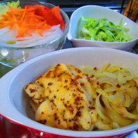 鶏ムネ肉のハニーマスタード焼き、お鍋