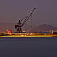 暮れ行く広島港・帆船日本丸 161021