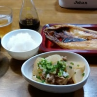 やっぱ、ビールには枝豆ね!お隣さまの家庭菜園から頂戴した食材で、晩ご飯が出来たょ。
