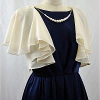 ボレロ241 結婚式のボレロ シフォンのフリルの2枚重ね 演奏会や二次会などフォーマルの羽織り